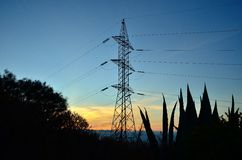 Electric tower backlit at dawn. View from below among plants Stock Photo