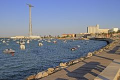 Electric tower in the bay of Cadiz. In spanish city Cadiz stock image