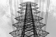 Electric tower in black and white Stock Photos