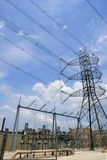 Electric tower and cables over blue sky Royalty Free Stock Photos