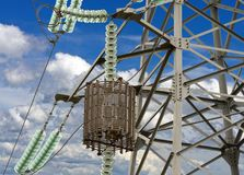 Electric tower high voltage. Post with blue sky Royalty Free Stock Photos
