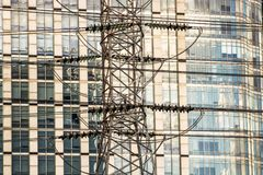 Electric tower with office building background. In Sao Paulo city royalty free stock photos