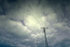 Electric tower in the sky Stock Photography
