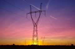 Electric tower on sunset Royalty Free Stock Photos