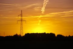 Electric tower on sunset Royalty Free Stock Photo
