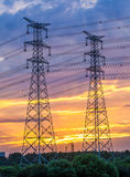 Electric tower at sunset Stock Photography