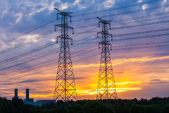 Electric tower at sunset Royalty Free Stock Photography