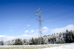 Electric tower in winter Royalty Free Stock Images