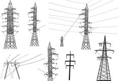 Electric towers collection Stock Photo