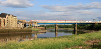 Electric train Carlisle bridge Lancaster Royalty Free Stock Photo