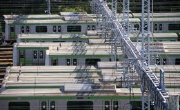Electric train in depot, mass trainsit in Japan. Royalty Free Stock Photo