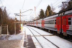 Electric train on the far station in Moscow Royalty Free Stock Photos