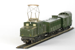 Electric train green toy miniature 2 Stock Photos