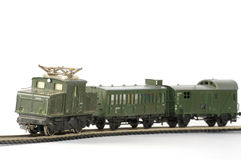 Electric train green toy miniature Royalty Free Stock Photography