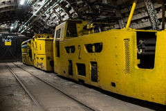 Electric train in modern coal mine Royalty Free Stock Photography