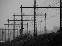 Electric train overhead wire in perspective royalty free stock photography
