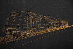Electric train painted with chalk on a dark chalkboard. Royalty Free Stock Images