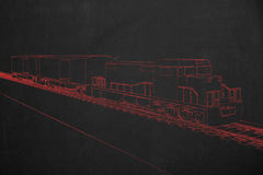 Electric train painted with red chalk on a dark chalkboard. Royalty Free Stock Photos