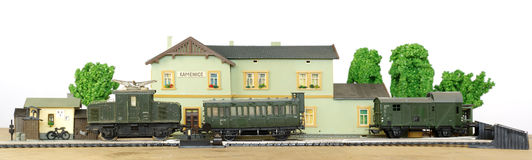 Electric train railway station miniature Royalty Free Stock Image