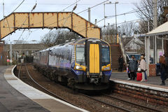 Electric train at Saltcoats station, Scotland Stock Photo