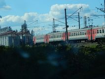 Electric train in the summer day stock image