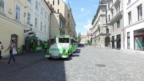Electric train for tourists in the city streets of Ljubljana the capital and largest city of Slovenia stock footage