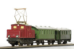 Electric train toy miniature objects Royalty Free Stock Images