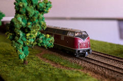 Electric train toy, rail transport modelling. Red black locomotive DB V 200 126 on tracks with a tree and green grass stock photos