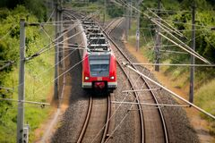 Electric train on tracks Royalty Free Stock Photography