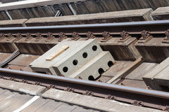 Electric train tracks in Bangkok, Thailand.  Royalty Free Stock Photo