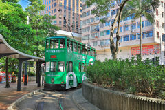 Electric tram bus stop at Shek Tong Tsui Royalty Free Stock Photography