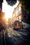 Electric Tram in Lisbon Stock Photo