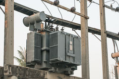 Electric transformer on electric pole Royalty Free Stock Photography