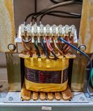 Electric transformer main. In control panel box, in factory industry Stock Photo
