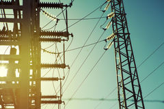 Electric transformer station. Royalty Free Stock Photos