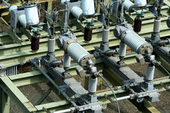 Electric transformer substation Stock Photo