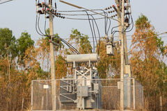 Electric transformer. Substation in country Stock Images