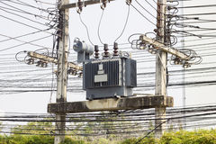 Electric transformer substation Royalty Free Stock Photo