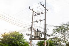 Electric transformer substation Royalty Free Stock Image