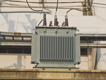 Electric transformers stock photo