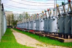 Electric transformers in Vilnius city Pasilaiciai district. VILNIUS, LITHUANIA - MAY 8: Electric transformers in Vilnius city Pasilaiciai district on May 8, 2015 royalty free stock image