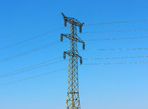 Electric transmission line. Tower and wires of an electric transmission line stock photo