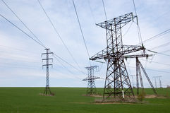 Electric transmission line Stock Images