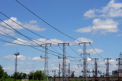 Electric transmission line. Against the sky background Stock Photography