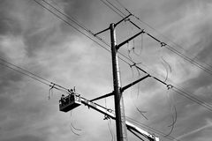 Electric Transmission Line Construction Stock Photos
