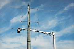 Electric Transmission Line Construction Stock Photo