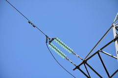 Electric transmission line fragment Royalty Free Stock Photo