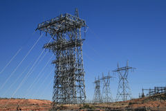 Electric transmission lines Royalty Free Stock Image