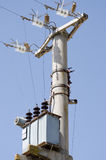 Electric transmission pylons. Close-up of insulators Royalty Free Stock Image