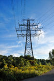 Electric transmission tower. Hydro electric transmission tower in the field Royalty Free Stock Photos